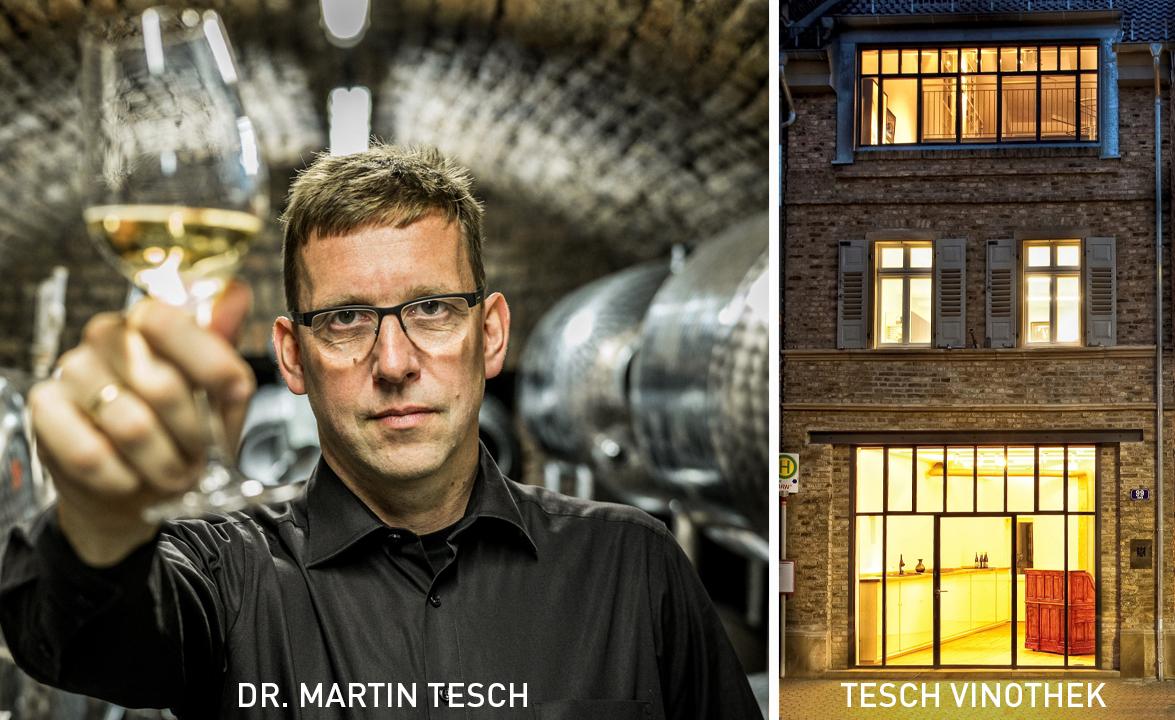 Dr. Martin Tesch und die Vinothek vom Weingut TESCH in Langenlonsheim an der Nahe
